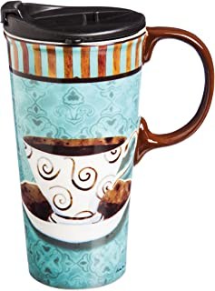 "Cypress Home Deja Brew 17 oz Boxed Ceramic Perfect Travel Coffee Mug or Tea Cup with Lid - 3""W x 5.25"