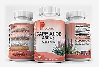 Cape Aloe 450 MG Aloe Ferox Dietary Supplement Capsules, Non-GMO Formula