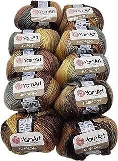 Ilkadim YarnArt Harmony Lot de 10 pelotes de laine à tricoter colorée 500 g 60 % laine Marron, beige, taupe, gris A9.