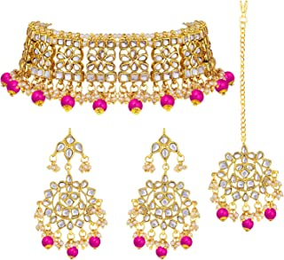 Aheli Elegant Indian Wedding Wear Faux Kundan Studded Choker Necklace with Maang Tikka Set Ethnic Fashion Jewelry for Women