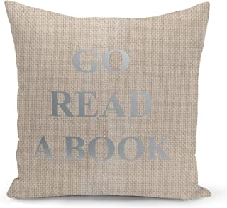 Read a Book Beige Linen Pillow with Metalic Silver Foil Print Reader Gift Sofa Pillow