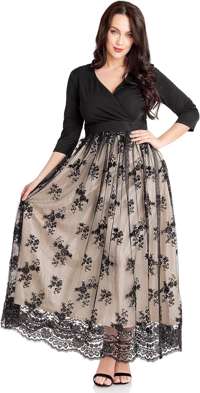 GRAPENT Women's Plus Size Sequin 3 4 Sleeves Evening Gown Party Long Maxi Dress