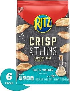 Ritz Crisp & Thins Salt & Vinegar Chips, 7.1 Ounce (Pack of 6)