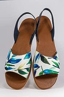 AESCA Womens Lawig Slingback Sandals Handmade Genuine Leather Flats Summer Shoes