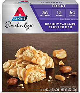 Atkins Endulge Treat, Peanut Caramel Cluster Bar, Keto Friendly, 5 Count
