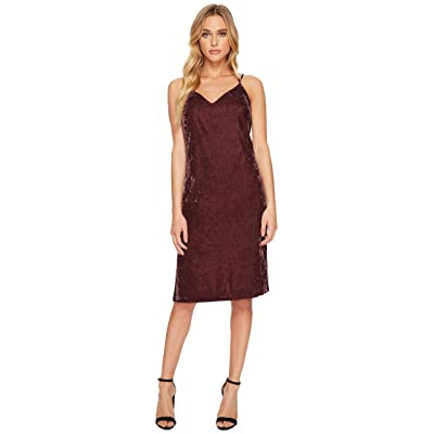 Splendid Velvet Slip Dress w/ Tuxedo Trim Sides (Deep Plum) Women