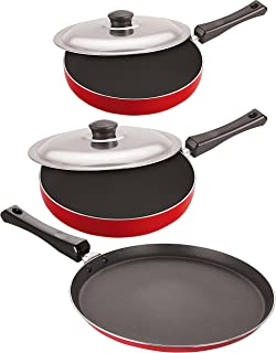 Nirlon Non-Stick Aluminium Cookware Set, 3-Pieces, Red & Black