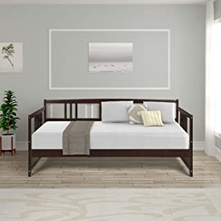 DERCASS Modern Wood Daybed Frame with Rails, Full Wooden Slats Support (Espresso, Twin)