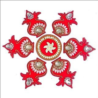 CurioCity Acrylic Designer Rangoli (11 inch, Red)