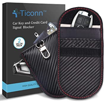Faraday Bag for Key Fob (2 Pack), TICONN Faraday Cage Protector - Car RFID Signal Blocking, Anti-Theft Pouch, Anti-Hacking Case Blocker (Carbon Fiber Texture)