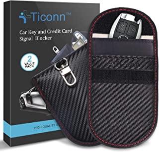 Faraday Bag for Key Fob (2 Pack), TICONN Faraday Cage Protector - Car RFID Signal Blocking, Anti-Theft Pouch, Anti-Hacking...