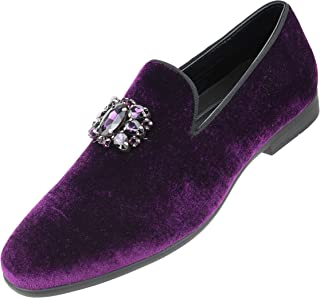 Amali The Original Men's Faux Velvet Slip on Loafer with Jeweled Bit and Matching Piping Dress Shoe, Style Tiago