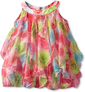 Baby Girls' Covered In Roses Vertical Ruffle Dress
