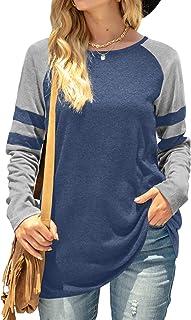Sponsored Ad - Saloogoe Womens Long Sleeve Tunnic Tops Stripe Sleeve Shirts Casual Lightweight Sweatshirts