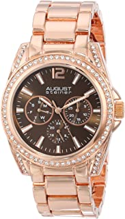August Steiner Women's Fashion Watch - Crystal Bezel and Lugs around Chocolate Brown Dial with Day of Week, Date, and 24 Hour Subdial on Rose Gold ToneStainless Steel Bracelet - AS8075