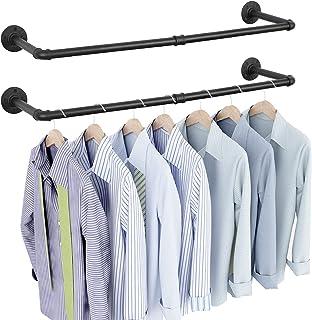 OROPY Lot de 2 Portants à vêtement Industriel, Porte Manteaux Amovible 92cm, Penderie Murale Rail de Suspension Style Loft...
