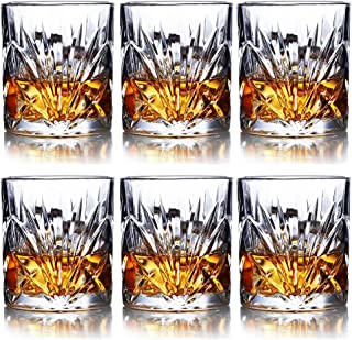 Whiskey Glasses Set of 6-10oz Premium Lead Free Crystal Whiskey Glass, Rock Style Old Fashioned Glass For Drinking Scotch, Bourbon, Cognac, Irish Whisky and Old Fashioned Cocktails