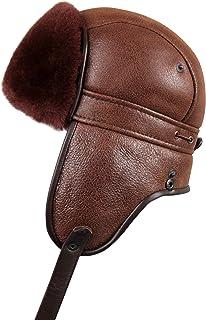 Zavelio Women's Shearling Sheepskin Aviator Russian Ushanka with Snap Biker Fur Hat