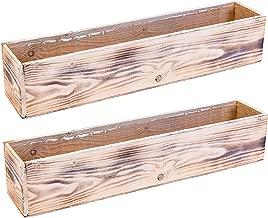 Wooden Planter Box, Whitewash with Plastic Liner l Garden Decor l Restaurant and Wedding Decorations l Wedding Bouquets, Table Centerpiece (20x4 Set of 2, Whitewash)