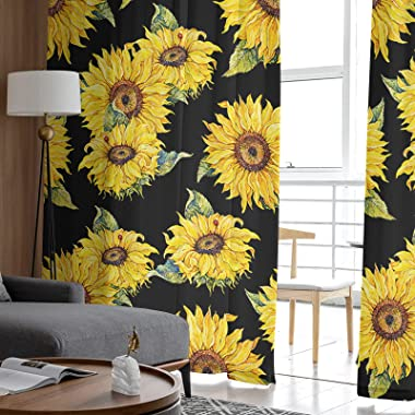 Semi Sheer Curtains Half Transparent Privacy Sunflower Nature Black and Yellow Art Rod Pocket Drapes for Living Room Bedroom