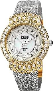Burgi Womens Quartz Watch, Analog Display and Brass Strap