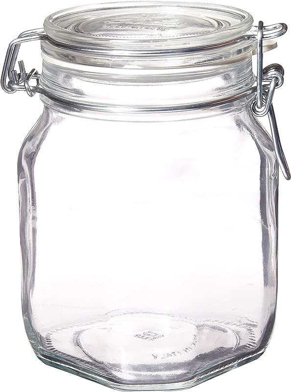 Bormioli Rocco SYNCHKG122276 Glass Jar 1 Liter Pack Of 2 Clear