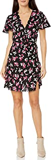 A|X Armani Exchange Women's V-Neck Fit and Flare Dress with Flouncy Sleeves