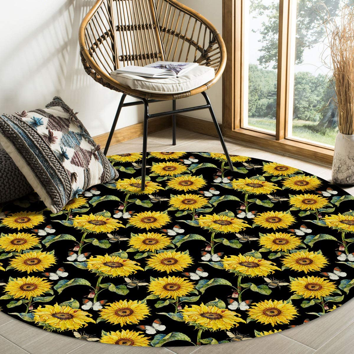 ALAGEO Round Area All items free shipping Rugs Quality inspection Watercolor Soft Living Indoors Sunlflower