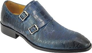 Xposed Nouveau Hommes Poli Patterned réel Cuir Bleu Moine Sangles Mod Chaussures 6 7 8 9 10 11 11.5
