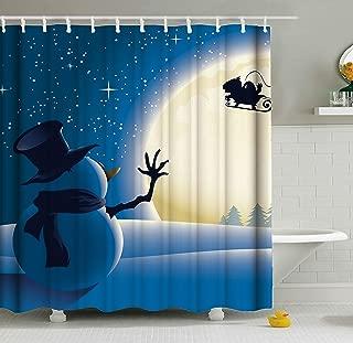 ShineSnow Winter Snowman Christmas Santa Claus On Sleigh Snow Reindeer Moon Shower Curtain Set 60 x 72 Inches, Home Decor Bathroom Accessories Waterproof Polyester Fabric Curtains