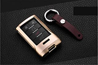 M.JVisun Key Covers For Car Keys Cadillac Remote Key, Key Fob Cover Fits Cadillac Seville SLS Escalade SRX Smart Car Key, Aircraft Aluminum Key Fob Case Key Protector for Men & Women - Gold,