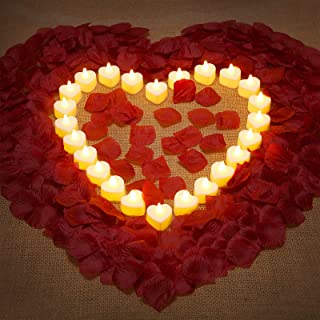 1000 Pieces Artificial Fake Rose Petals and 24 Heart Shape Flameless LED Tealight Candles Romantic Love LED Candles Artifi...