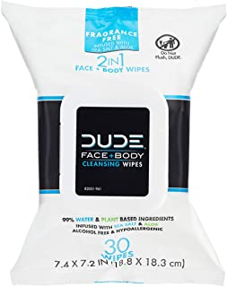 Sponsored Ad - DUDE Face & Body Wipes 30 Count Unscented for Sensitive Skin Infused with Refreshing Sea Salt & Soothing Al...