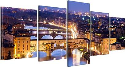 Bilderdepot24 Cuadros en Lienzo Florencia - Italia - 200x80 cm 5 Piezas - Enmarcado Listo Bastidor Imagen. Directamente Desde el Fabricante