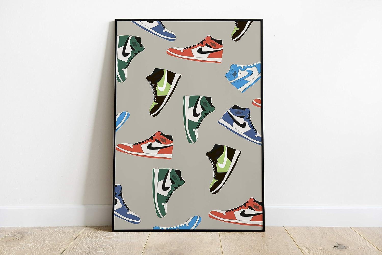 Neon decorative poster- Rainbow Jordan 1s poster, sneaker poster ...