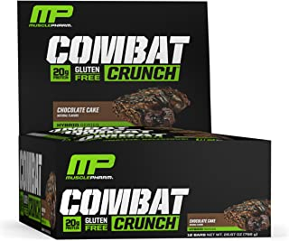 MusclePharm Combat Crunch Protein Bar, Multi-Layered Baked Bar, Gluten-Free Bars, 20 g Protein, Low-Sugar, Low-Carb, Gluten-Free, Chocolate Cake Bars, 12 Count