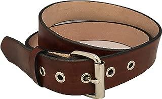 Mens Leather Belt Brown Handmade Reinforced Holes Roller Buckle Work Casual 1.5
