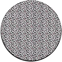 Round Area Rug Leaves Patterns Casual Non-Slip Living Bedroom Rug Bath Door Mat Inside Outside Mat Rug Pads
