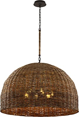 Troy Lighting F6906 Huxley 44in Pendant, Tidepool Bronze with Natural Vine