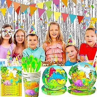 BETOY Forniture per Feste di Compleanno di Dinosauri, 110 Pezzi Monouso Dinosauri Piatti, Bicchieri, Tovaglioli, Tovaglia,...