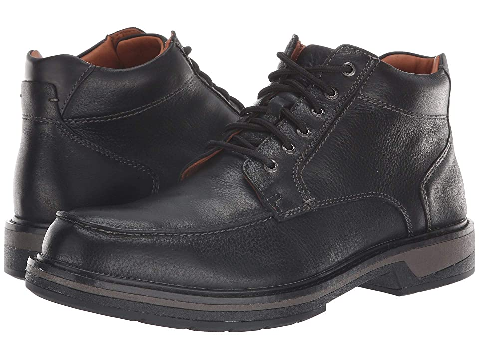 Johnston & Murphy Waterproof Rutledge Moc Toe Boot (Black Waterproof Tumbled Full Grain) Men