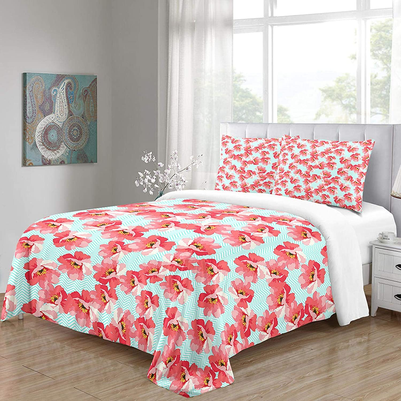 HKDGHTHJ Bedroom Decoration Microfiber New sales Pattern New arrival Print Flower Red