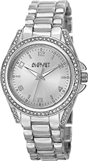August Steiner Women's AS8149 Quartz Crystal Accented Watch with Bracelet Silver