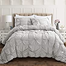 Lush Decor Bella Comforter Set Shabby Chic Style Ruched 3 Piece Bedding with Pillow Shams-King-Light Gray
