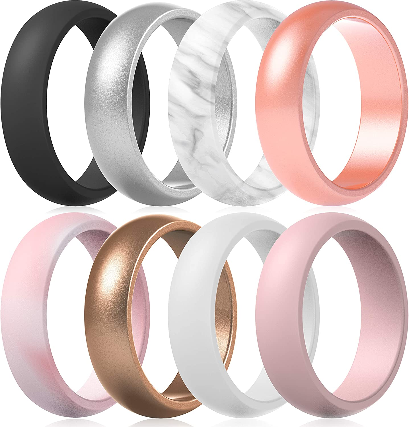 ThunderFit Silicone Wedding Bands for New color Dome Women Wide 5.5mm - A surprise price is realized