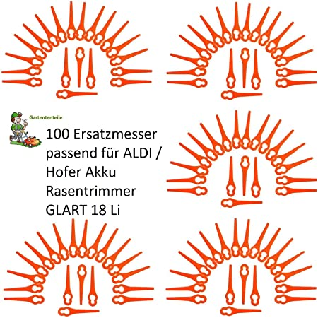 100 Stk Messer Für Güde RT250//18 batterie Li-ionen Rasen Trimmer Ersatzklinge