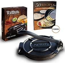 Tortillada – Premium Cast Iron Tortilla Press with Recipes (10 Inch) / Biggest Tortilla Press in the Market