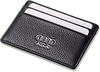 Audi Slim Card Wallet Black with 4 Credit Card Slots - Genuine Leather