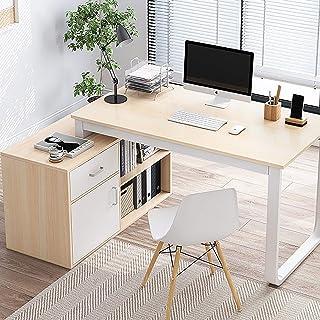 Gain D'espace Table d'angle Rédaction du Bureau D'ordinateur,avec Tiroir Moderne Simple Poste De Travail Pc,avec Armoire D...