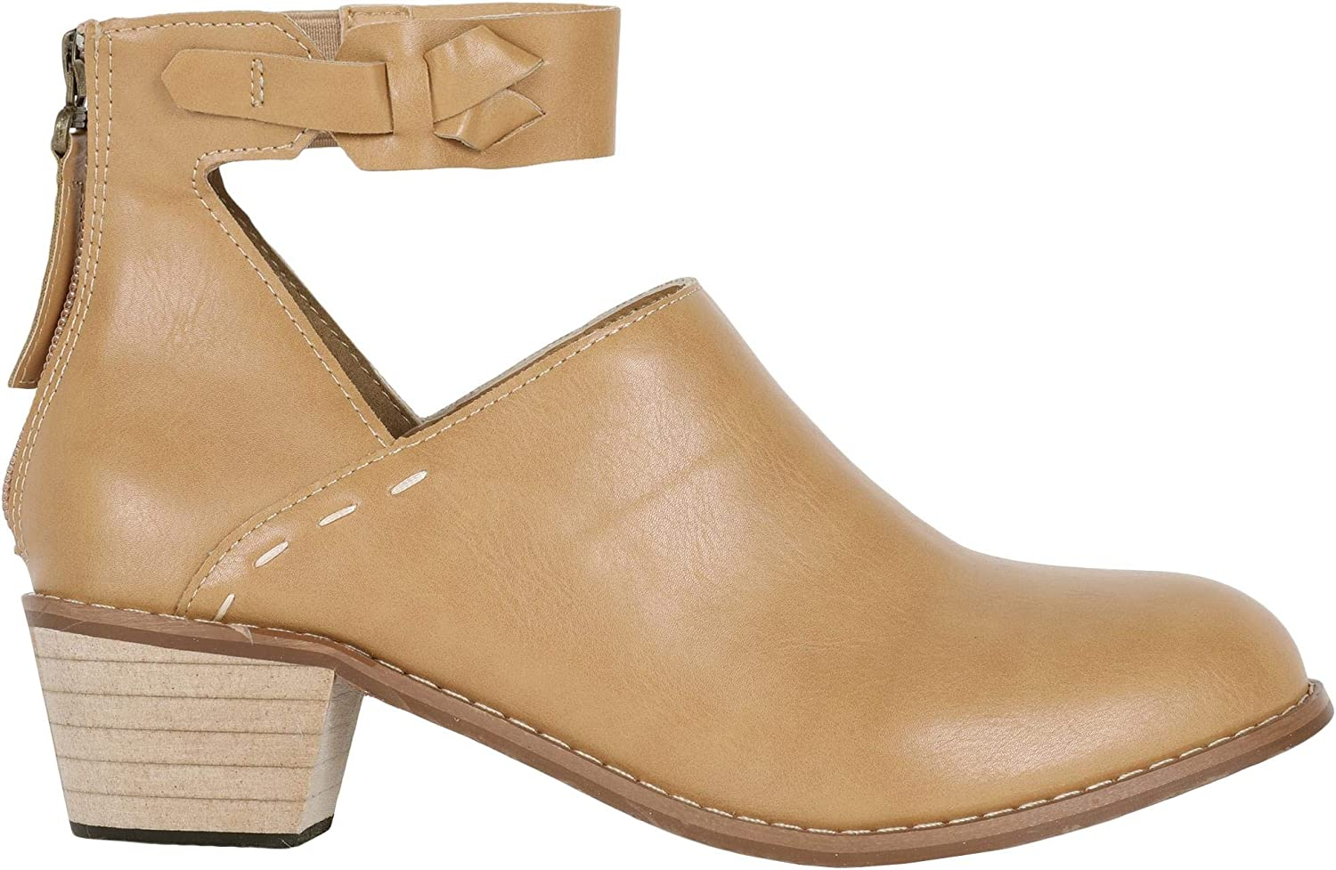 Womens Cutout Ankle Strap Booties Chunky Block Stacked Mid Heel Zip Up Pump Boots (8 B(M) US, Brown)